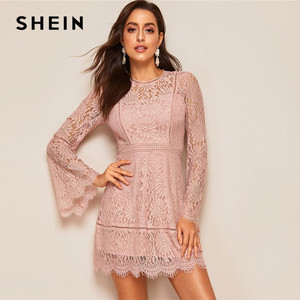 Image 3 - SHEIN Romantic Trumpet Sleeve Floral Lace Overlay Dress Women Clothes 2019 Spring Zipper Flounce Sleeve Mini Dress Party Dresses
