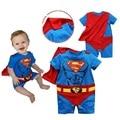 Muscular Superman Mamelucos Del Bebé Cape Establece Bebé Traje Ropa roupa roupa bebe de bebe bebé ropa meses