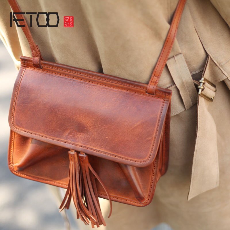 AETOO College of Arts and Crafts Feng Sen Department of retro handmade first layer of leather leather fringed envelope bag sh Pa купить