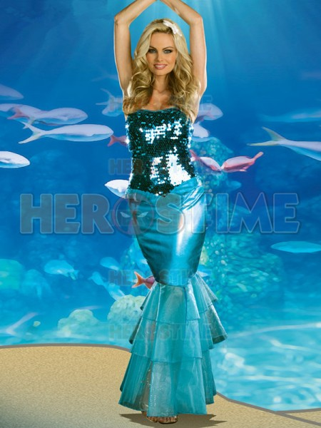 Mermaid Costume Newest Sexy One Piece Mermaid Long Halloween Fancy Dress Costume