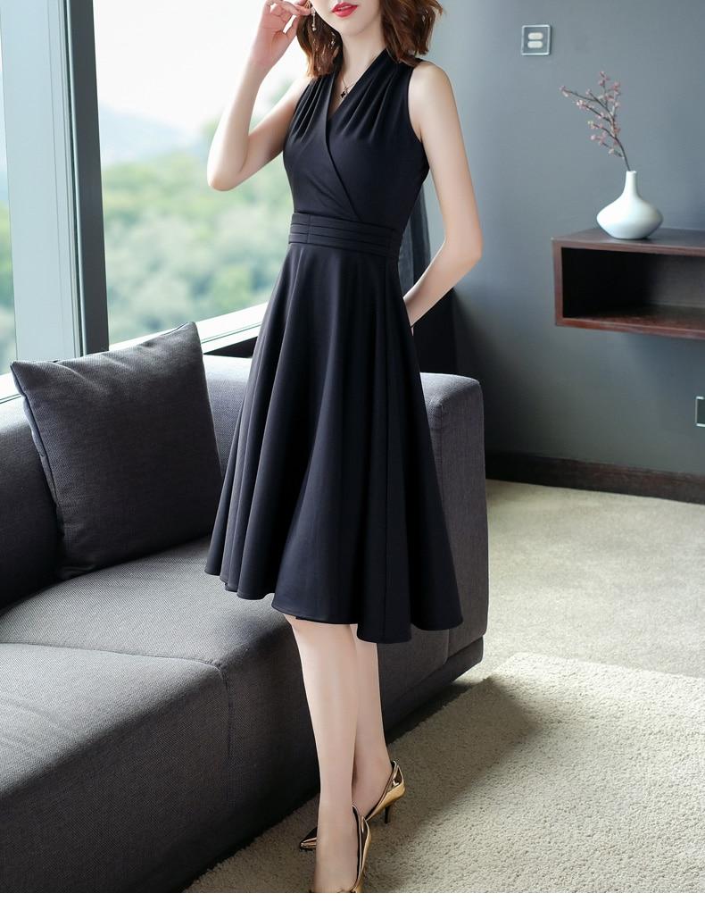 Vintage Hepburn Robe noire femmes été Sexy licou col en v une ligne Robe noire balançoire Robe Femme Vestidos