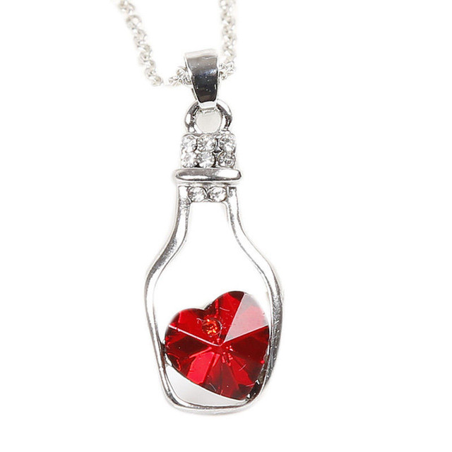 533f54c678f9 Crystal Love Pendant Necklace Charms Wishing Bottle Heart Necklace Women  Elegant Necklace Bisuteria Pendientes Collares Mujer 20