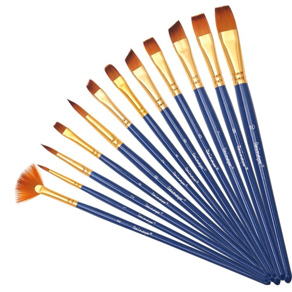 Dainayw 12pcs Professional Different Shape Nylon Hair Paint Brushes Artist Oil Watercolor Painting Brush For Art Supplies