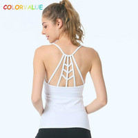 Colorvalue Sexy Schlank Yoga Top Frauen Nylon Gepolsterte Fitness Dance Weste Anti-schweiß Sport Workout Tanktops mit abnehmbare Pads