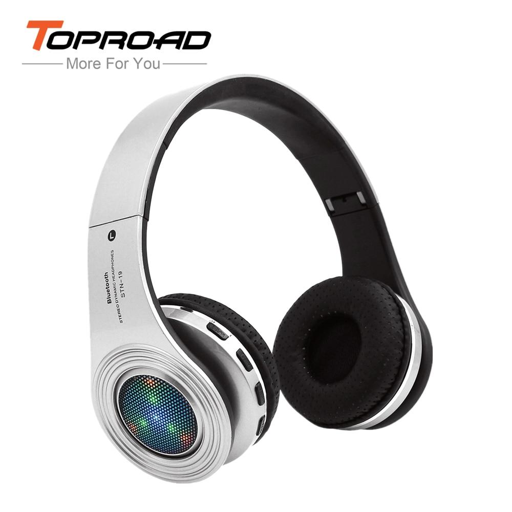 bilder für Stn-19 bluetooth kopfhörer wireless stereo headsets ohrhörer mit mikrofon unterstützung led-licht tf karte fm radio für iphone samsung pc