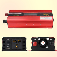 1500W LCD Power Inverter Installation Kit Auto Car Vehicle Power Supply Red