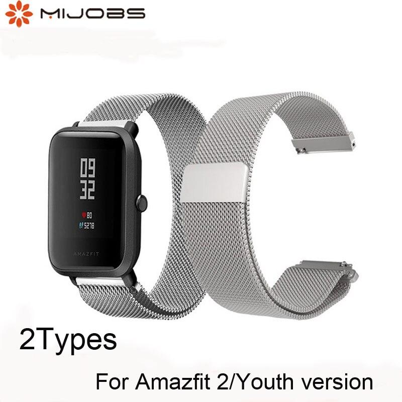 Mijobs para Xiaomi Huami Amazfit poco correa de Metal pulsera de acero inoxidable reemplazo Huami Amazfit Bip poco ritmo Lite juventud reloj