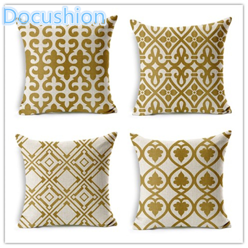 Personalized retro gold geometric printed pillow pillow - Fundas cojines sofa ...