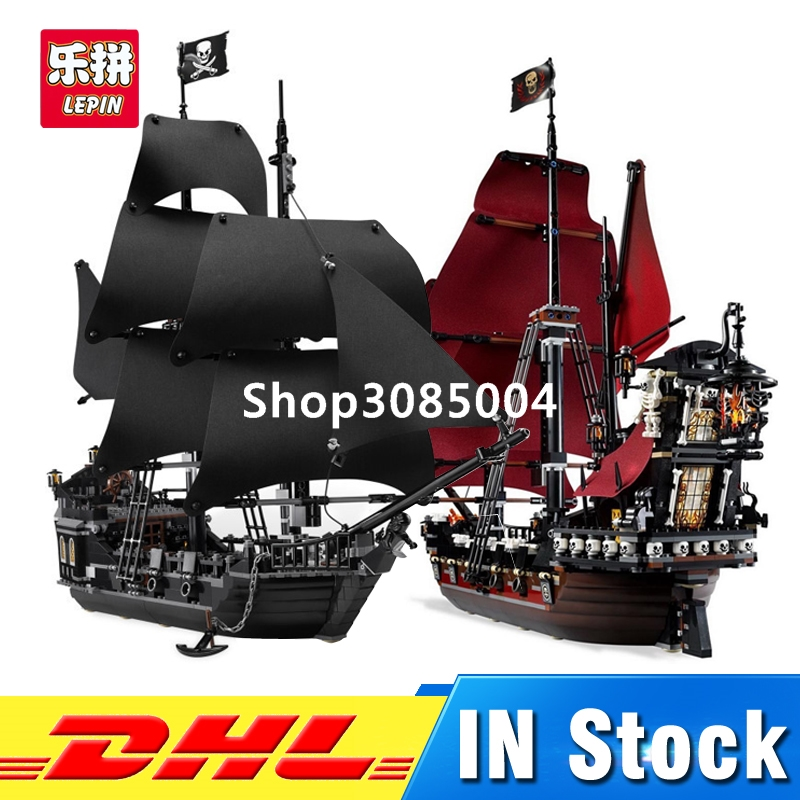 DHL LEPIN 16006 Pirates of the Caribbean The Black Pearl Ship+ 16009 Queen Anne's revenge Pirate Ship Building Blocks Set