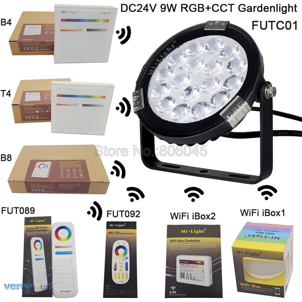 DC24V вход milight 9 Вт RGB + <font><b>CCT</b></font> свет сада IP65 Водонепроницаемый Открытый светодиодное освещение FUTC01 Wi-Fi Совместимые 2.4 г беспроводной пульт дистанцио&#8230;