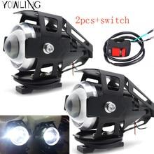 ФОТО 2pcs motorcycle led headlight 125w 3000lm u5 waterproof driving spot head lamp fog light switch moto accessories 12v turn signal
