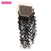 Brazilian Deep Wave Human Hair Bundles Swiss Lace Closure Free Three Middle Part With Baby Hair Non Remy Hair 8'' 20'' Smoora