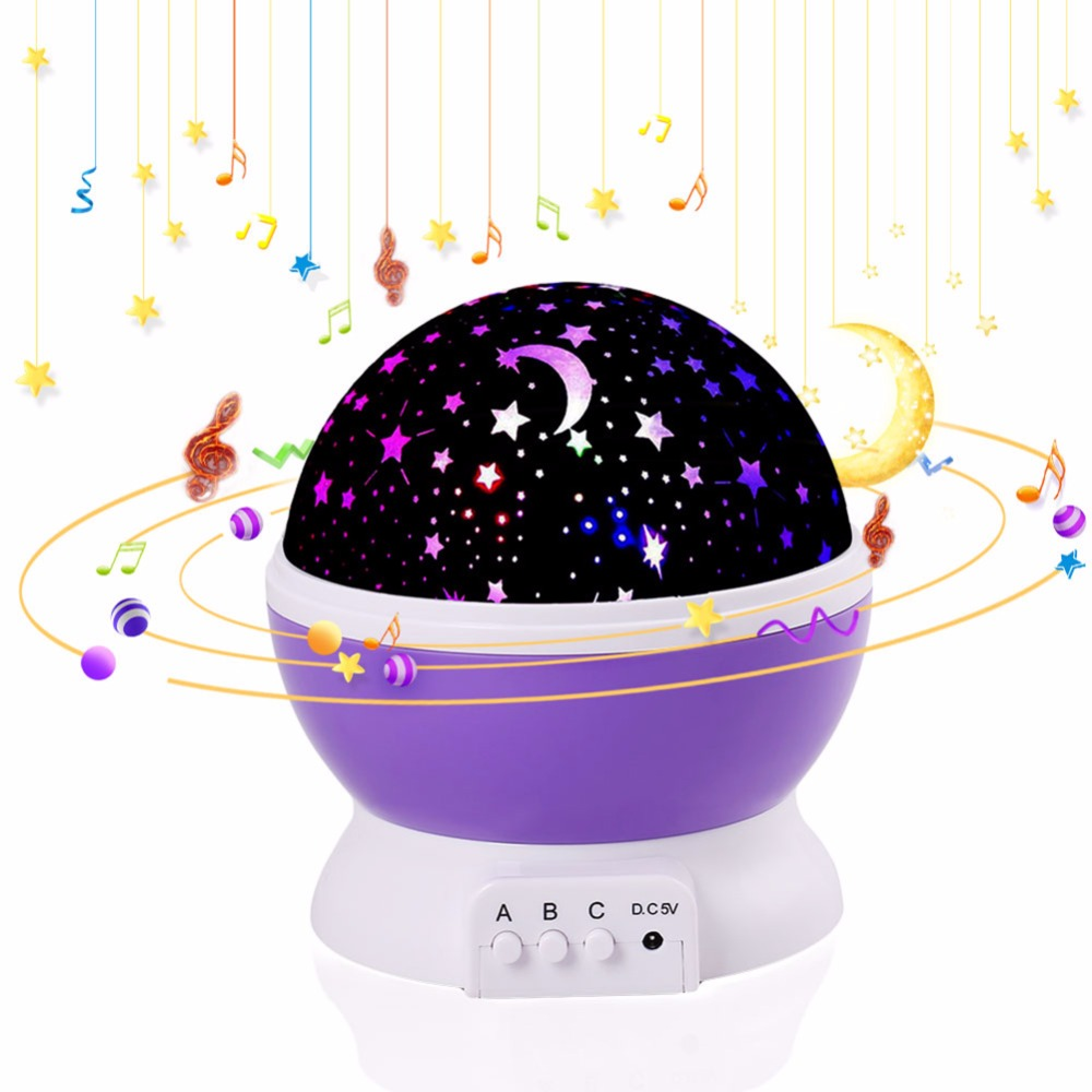 Music Night Light Projector LED Luminaria Novelty Lamp Spin Star Moon Sky Children Kids Baby Sleep Romantic Led USB Project 7colors led night light starry sky remote control ocean wave projector with mini music novelty baby lamp led night lamp for kids