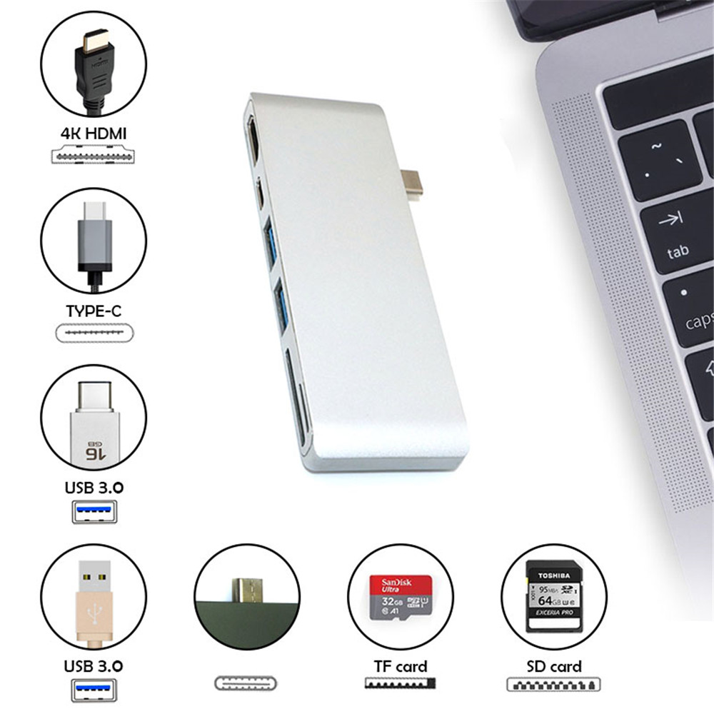 6in 1 Usb C Hub Hdmi Adapter To 2 3 0 4k Sd Micro Mini Tf Type Macbook Pro 30 With Sdtf Card 6 In