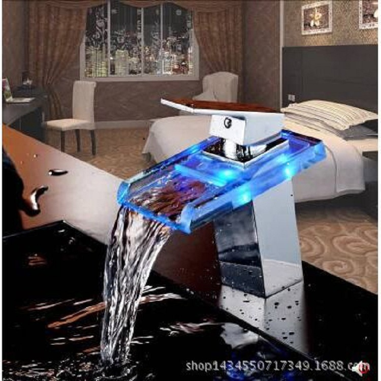 Kitchen faucet factory direct LED wide mouth waterfall hot and cold faucet glass waterfall can change color change color