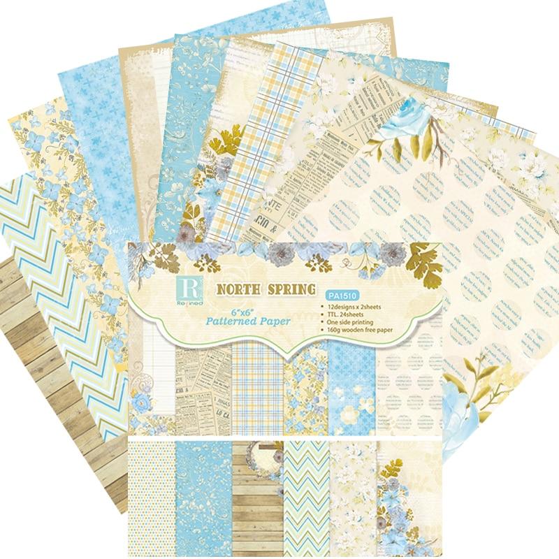 KLJUYP 12 Sheets North Spring Scrapbooking Pads Paper Origami Art Background Paper Card Making DIY Scrapbook Paper Craft