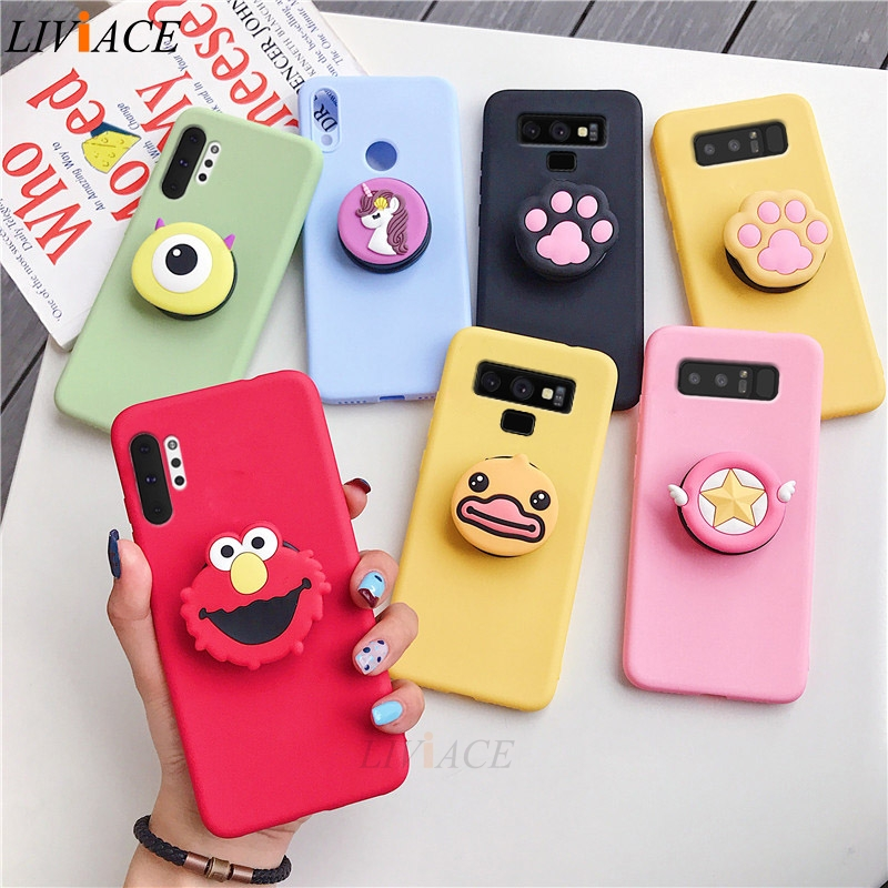 Case for Fundas Coque Phone-Holder Back-Cover Note Cute Stand Silicone Samsung Galaxy