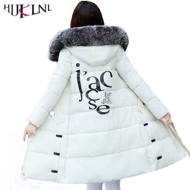 HIJKLNL Women Winter Jacket 2017 Fashion Letter Printed Long Thick Winter Coat Outwear Hood Fur Collar Padded Parka Mujer NA424 hijklnl women casual letter printed hooded long jacket 2017 winter thick coats female loose overcoat cotton parka mujer na340