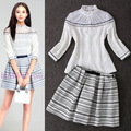 2016 Autumn New Fashion 2 Piece Set Women Elegant Black White Sheer Lace Shirt + Stripe Print Pleat Skirt Clothing Set 4045