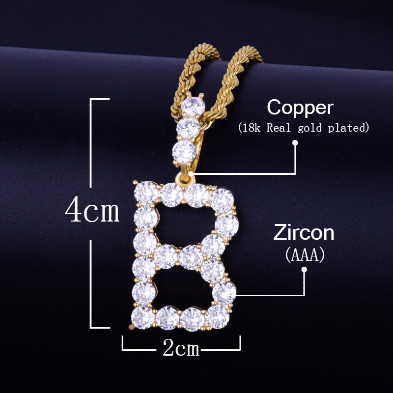 Image 2 - Zircon Tennis Letters Necklaces & Pendant For Men/Women Gold Silver Color Fashion Hip Hop Jewelry with 4mm Tennis Chain-in Chain Necklaces from Jewelry & Accessories