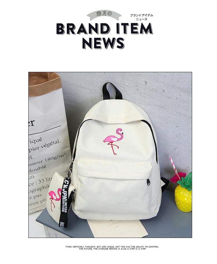 HTB1Aj2Rw5QnBKNjSZFmq6AApVXa0 Backpacks Brand Women Simple Flamingo Printing Backpack For Teenage Girls Laptop School Bags Mochila 2019