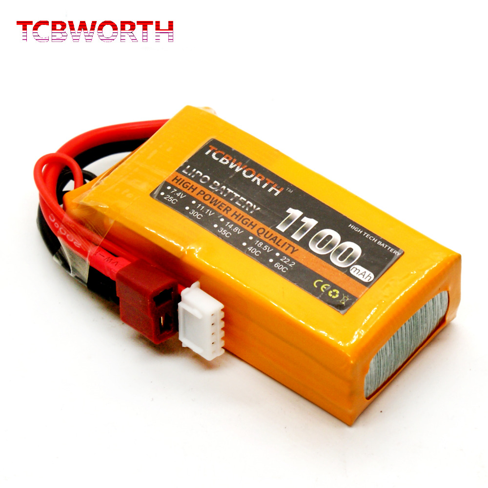TCBWORTH RC LiPo battery 4S 14.8V 1100mAh 25C For RC Helicopter Airplane Car Boat Quadrotor Li-ion battery 1s 2s 3s 4s 5s 6s 7s 8s lipo battery balance connector for rc model battery esc