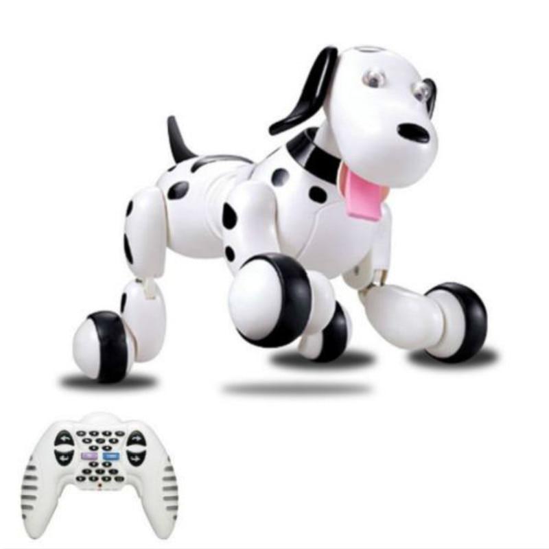HappyCow belle 777-338 RC Robot chien Intelligent 2.4G RC Simulation intelligente Mini Doggi blanc rose pour enfants jouets pour animaux de compagnie cadeau de noël
