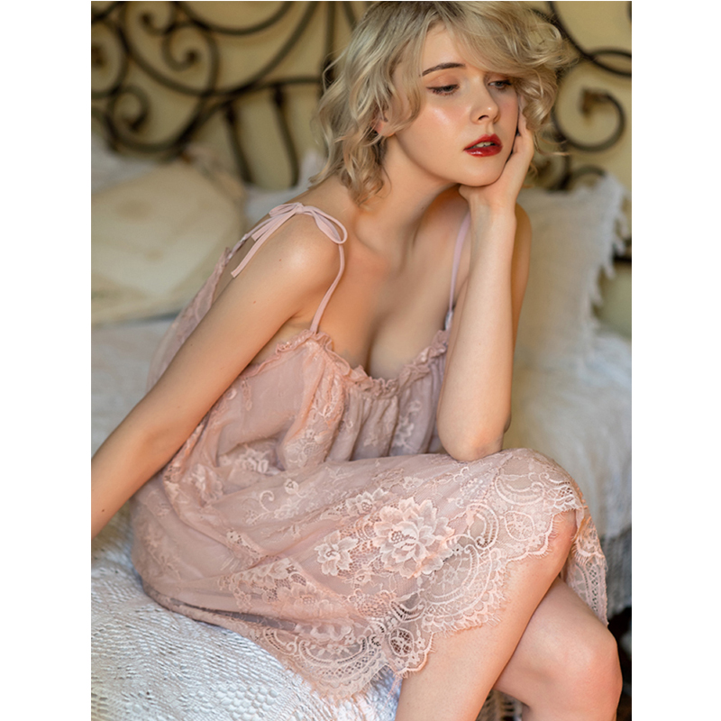 Caiyier Pink Lace Night Dress Off Shoulder Sling Lingerie Nightgown Sexy Women Night Gown Sleepwear Home Clothing