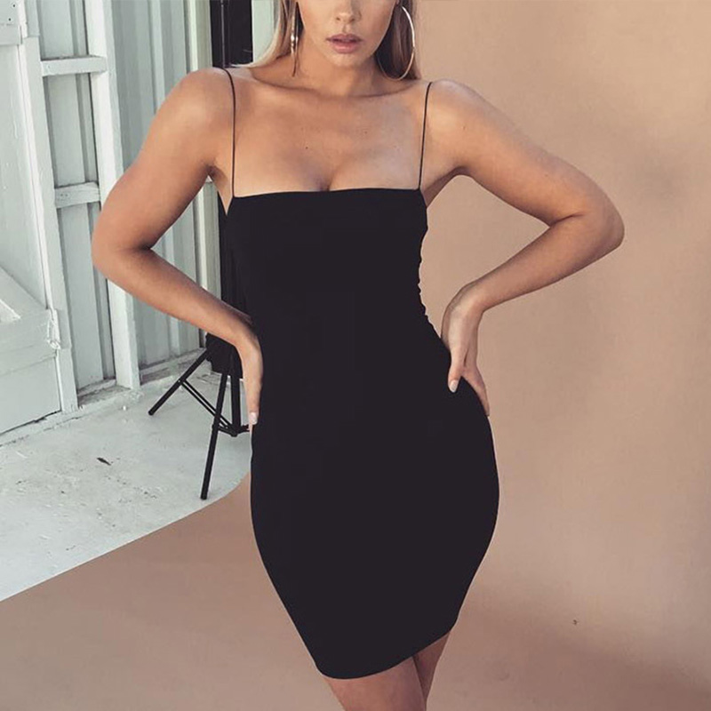 Ladies <font><b>Club</b></font> Party <font><b>Dress</b></font> <font><b>Sexy</b></font> Mini Black White Sheath <font><b>Dress</b></font> Women Casual Fashion Solid Color Slim Fit <font><b>Bodycon</b></font> <font><b>Dress</b></font> image
