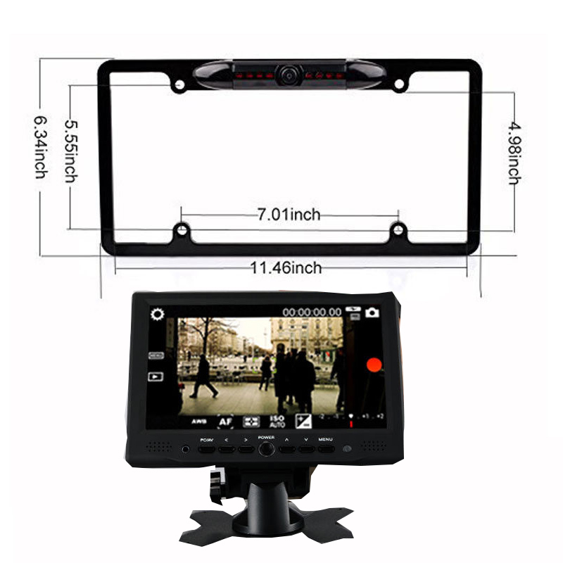 Portable Mini 7Inch HDMI VGA 1024x600 <font><b>LCD</b></font> Car Rearview TV Monitor Metal-Frame-USCar-HD-Camera