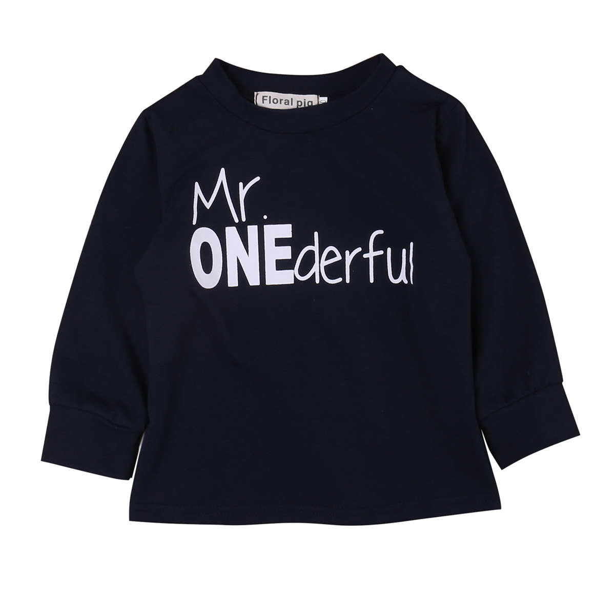 Newborn Infant Kids Baby Boy Girl T-shirt  Letter Long Sleeve Coyyon Clothes Black T-shirt Tops