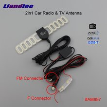 Liandlee ANT 2in1 Car TV Antenna Radio F FM Connector With Amplifier Booster Aerial AM RDS DVB-T ISDB-T ATSC #AM897