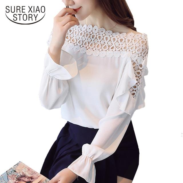 Loose Top Blusas 2018 Spring Korean Office Lady Fashion Women Solid Chiffon Blouse  Shirt Female Slash