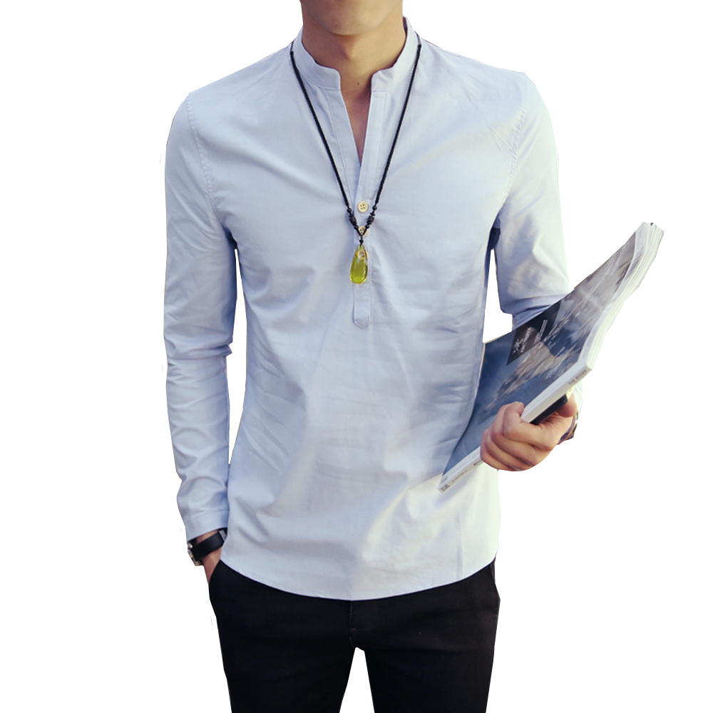 Hot Sale 2018 summer new style Chinese vintage style men shirt v-neck Long sleeve cotton ...