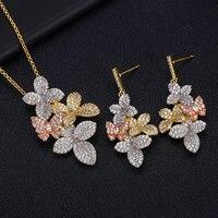 Accking Luxury Flower Cubic Zirconia Necklace Earring Dubai Jewelry Set for women bridal jewelry set