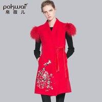 POKWAI Winter Wool Coat Women 2017 New Arrival Embroidery Floral Vest Adjustable Waist Overcoats V neck A Line Female Parkas