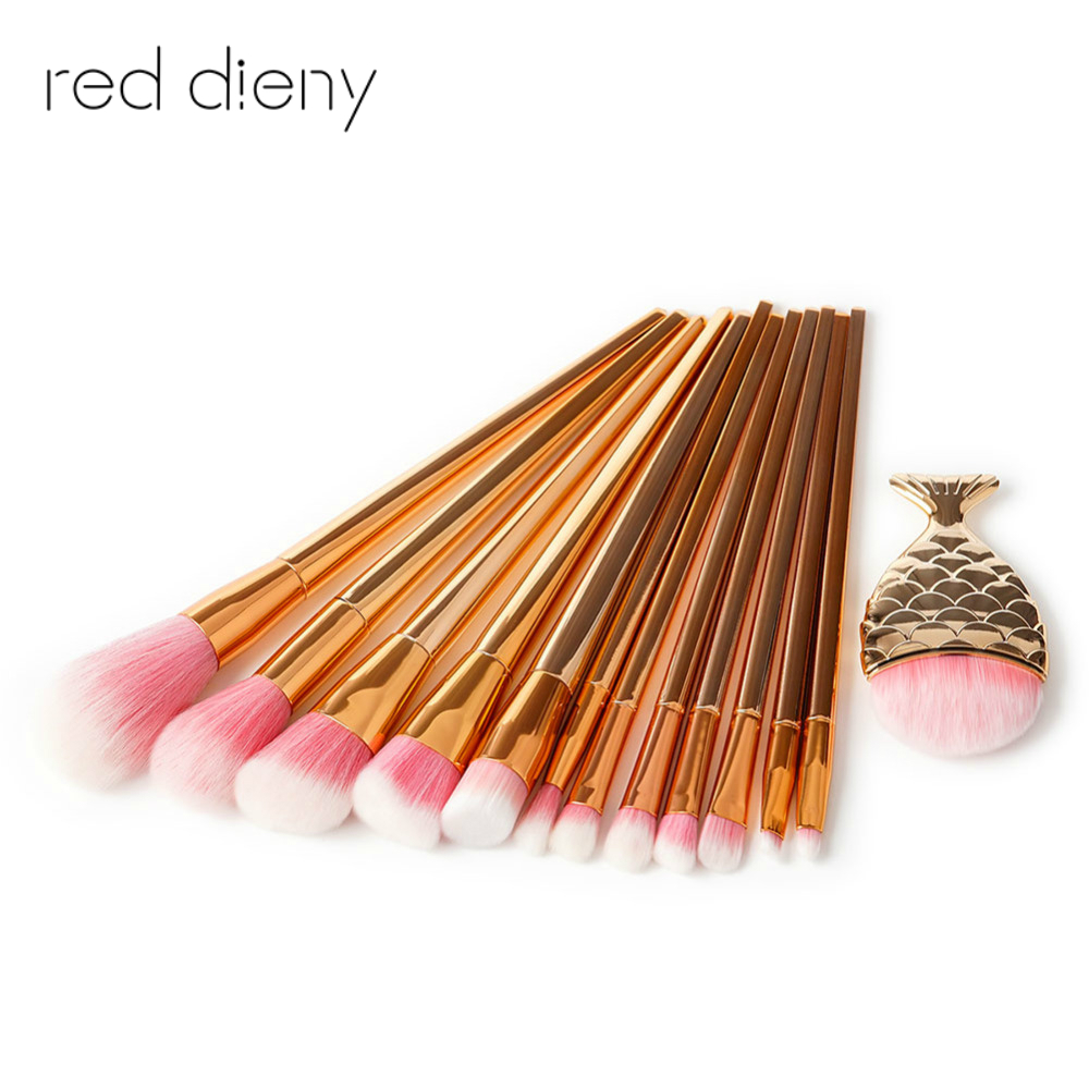 8/13pcs Rose Gold Makeup Brush Set Mermaid Fishtail Shaped Foundation Powder Contour Eyeshadow Eyeliner Cosmetics Brushes Kit