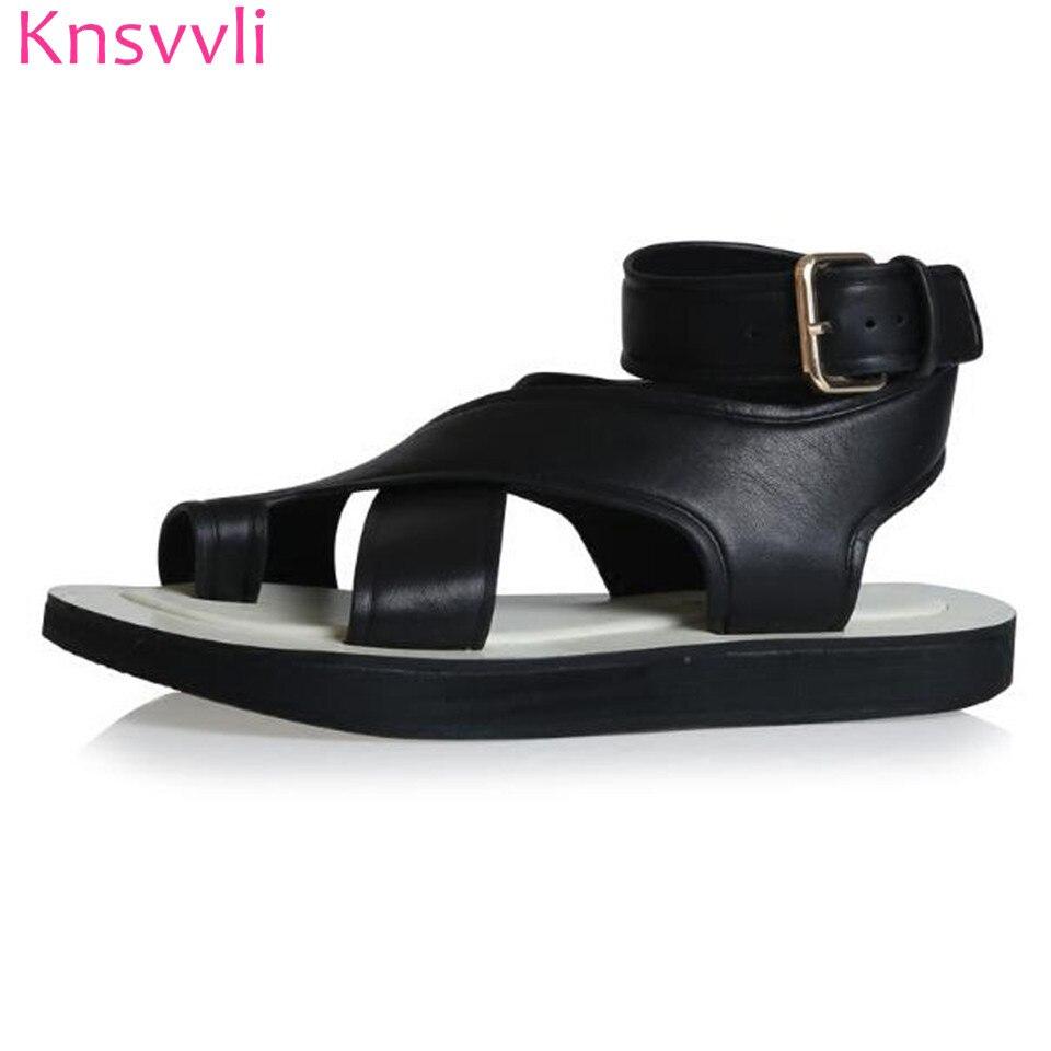 Knsvvli Women Sandals With Thick Bottom Summer Newset  Foot Ring  Belt Buckle Cross Belt Clip Toe Rome Flat Sandals Mujer