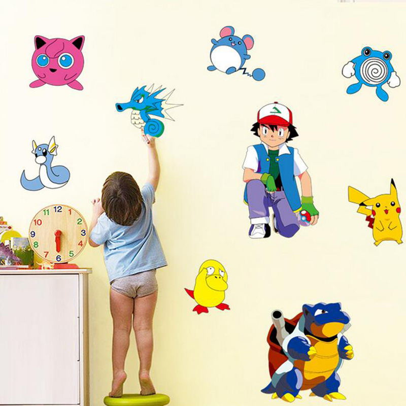 Kindergarten Children Toy Pokemon Pikachu Pokemon Cartoon Sticker Home Decoration Kids Bedroom Decor Birthday Gift 6ZA134