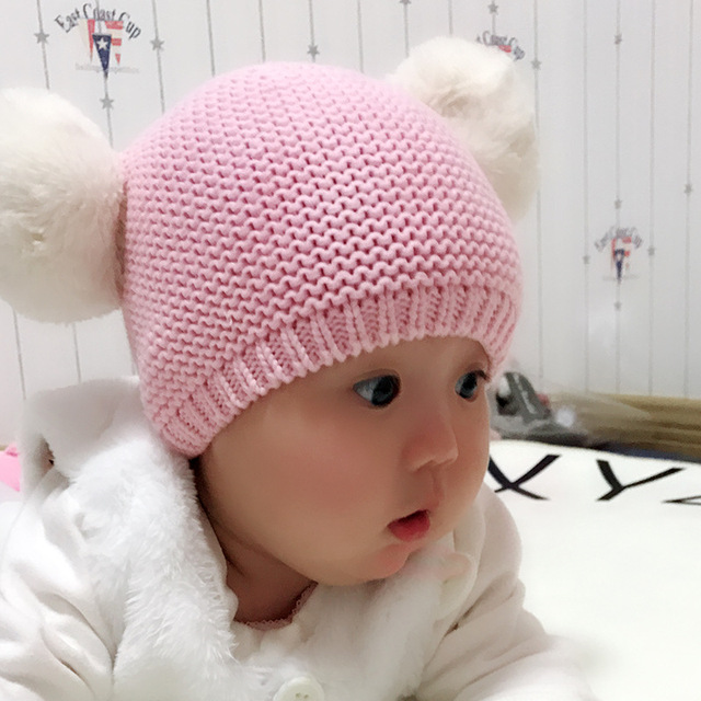 3aac7445ce7 CmsDxz Winter Hats For Baby Girl Cute Big Ball Top Baby Cap Warm Accessorie  Pink Cotton
