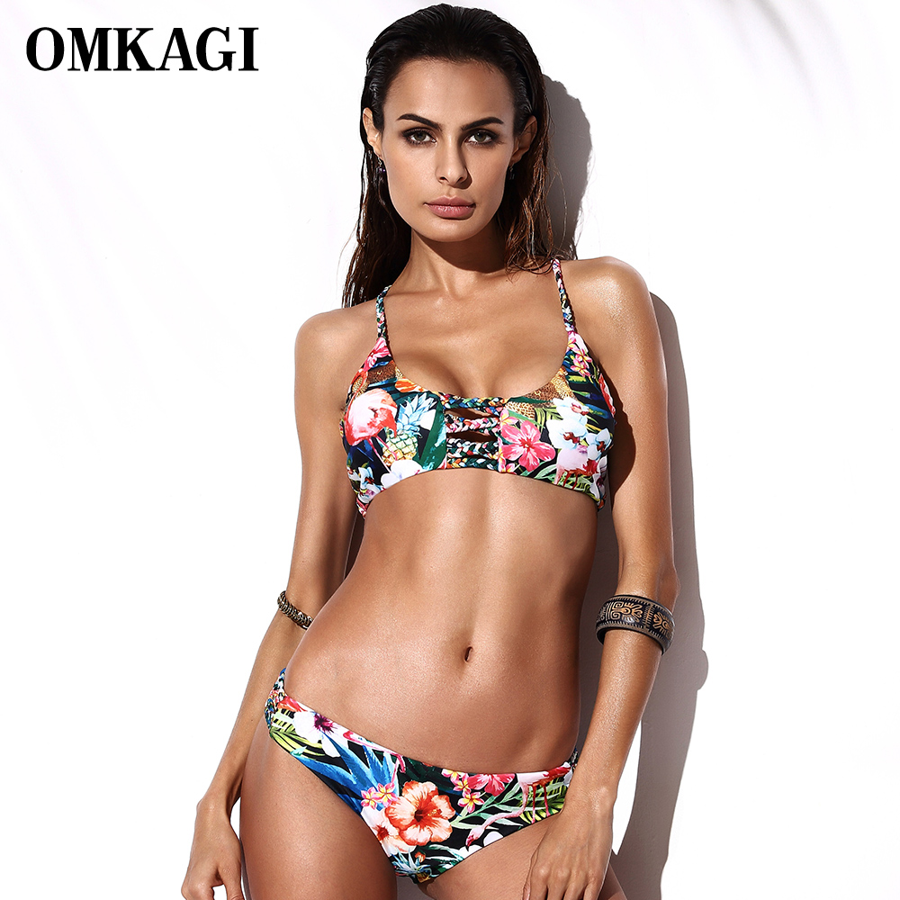 OMKAGI Sexy Bikini 2018 Swimwear Women Bikinis Set Push Up Swimsuit Bandage Bathing Suit Beachwear Maillot De Bain Femme Biquini hot women one piece swimwear women push up monokini maillot de bain bathing suit swimsuit plus size shorts bikinis beachwear