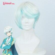 L-mail peluca Nueva Llegada Anime Cuentos de Zestiria la X de Los Hombres Mikleo Blanco Azul Peluca Corta Peluca de Cosplay Pelucas Peruca Pelo de Los Hombres peluca
