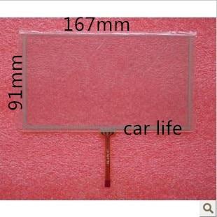 imágenes para 1 unidades intercambiables 7 pulgadas 4 Pines 167*91 de la pantalla táctil de cristal del panel para el coche reproductor de DVD de navegación GPS