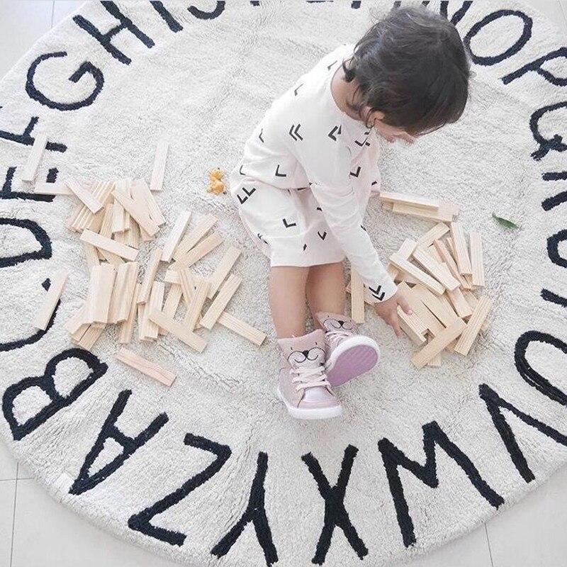 INS nordique 26 lettres tapis de jeu tapis de jeu doux A-Z Alphabet tapis rond tapis rampant couverture tapis de sol jouet chambre décoration