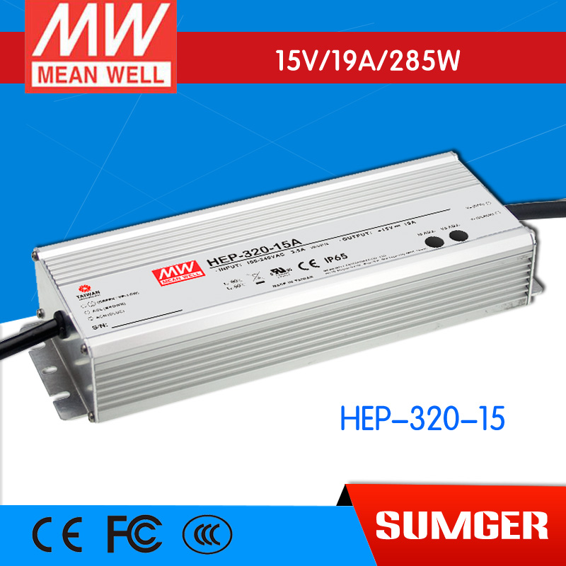 1MEAN WELL original HEP-320-15 15V 19A meanwell HEP-320 15V 285W Single Output Switching Power Supply [freeshipping 1pcs] mean well original rs 25 15 15v 1 7a meanwell rs 25 25 5w single output switching power supply