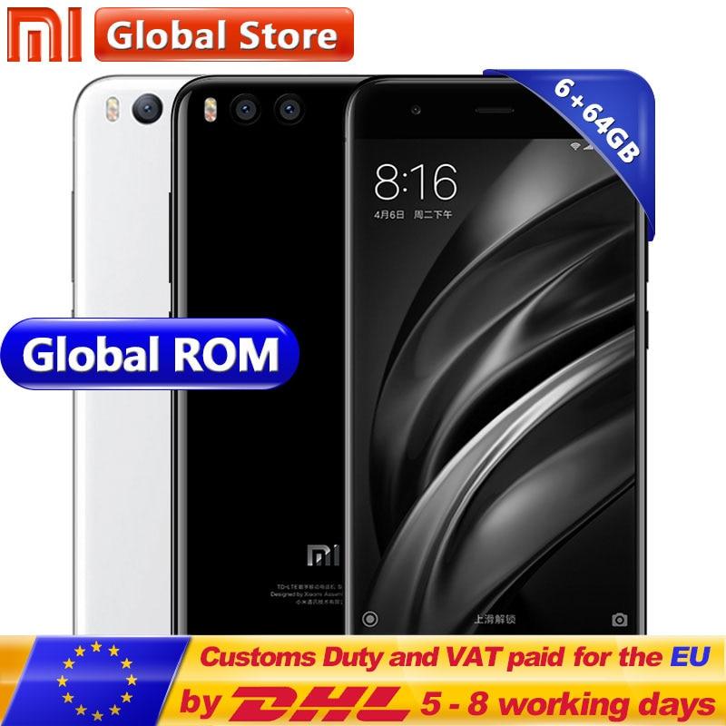 Originale Xiao mi mi 6 del telefono Mobile Mi 6 6 gb 64 gb android 7.1 octa Core 5.15 Pollice 1920x1080 Dual 12.0MP Snapdragon S835 3350 mah