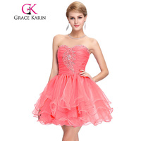 Fashionable Real Grace Karin Watermelon Short Prom Mini Beaded And Sequins Ball Dresses CL6077