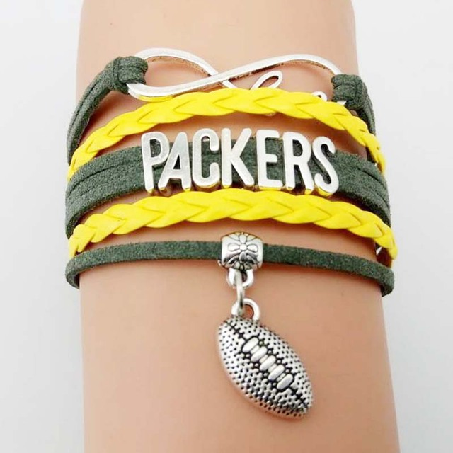 10 Pieces Lot Infinity Love Green Bay Packers Football Team Bracelet Gold
