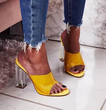 BONJEAN más Sexy tacones zapatillas mujer punta abierta de bloque de vidrio mulas zapatos PVC Patchwork recortes vestido de fiesta tacones