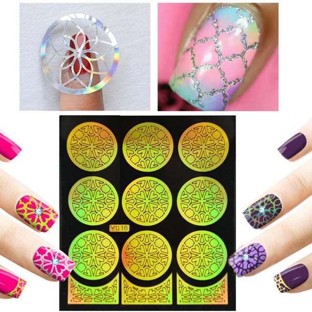 Hot 1pieces Silver Hollow Paper Nail Art Stamp Stamping Template Sticker Guide Manicure Tools